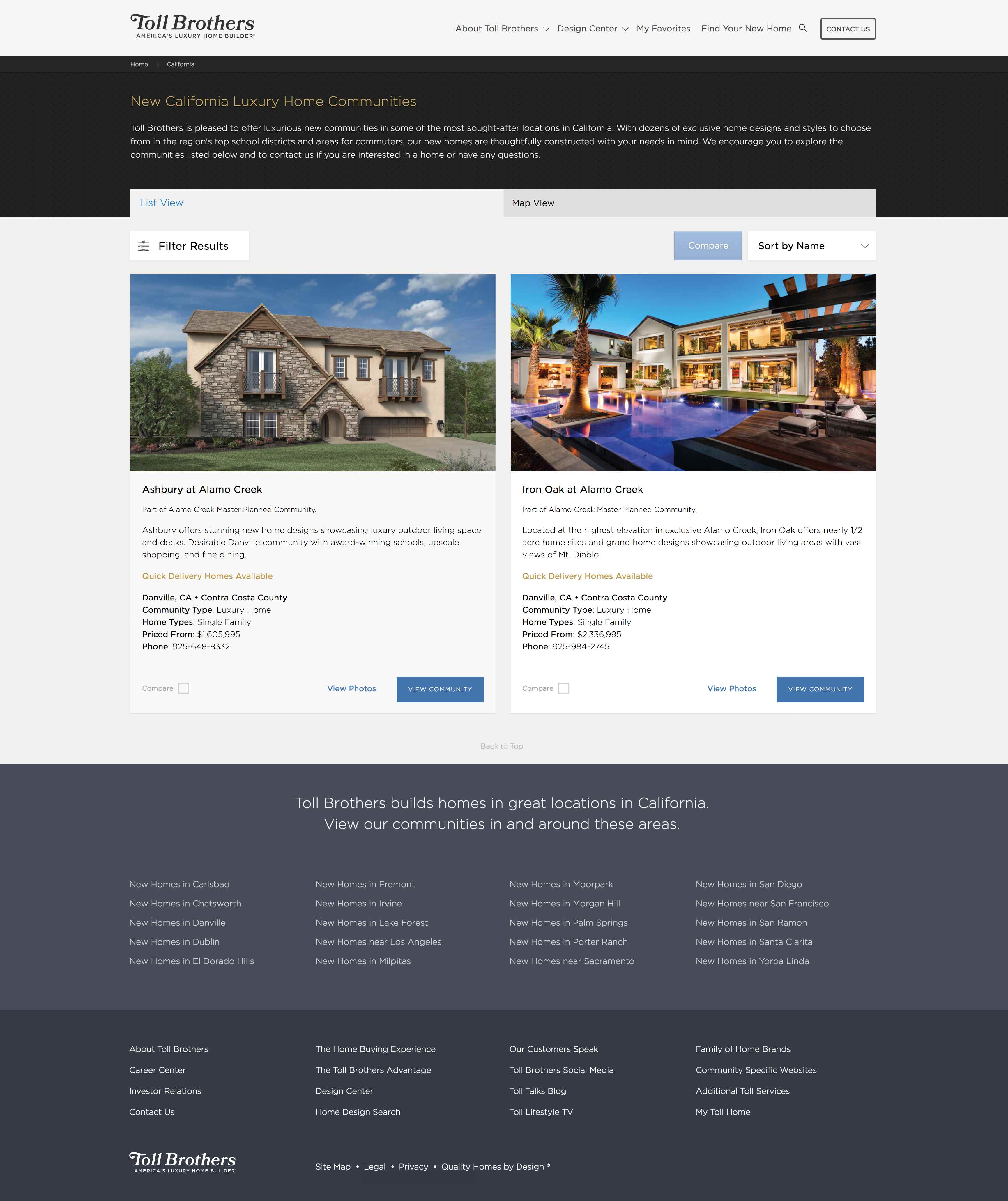Toll Brothers Website
